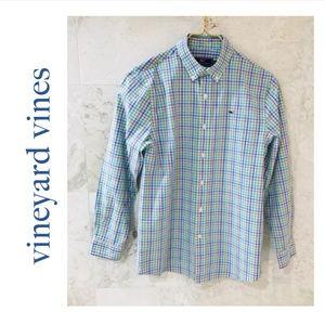 Vineyard Vines {BoyM} Shirt ButtonDown Whale Plaid